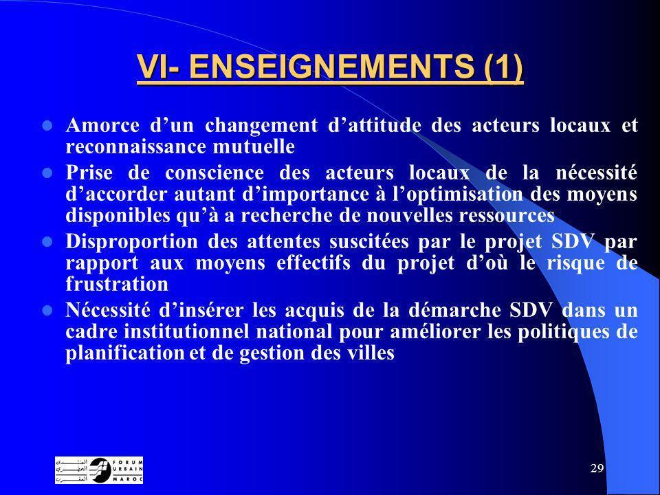 VI- ENSEIGNEMENTS (1) Amorce d'un changement d'attitude des acteurs locaux et reconnaissance mutuelle.