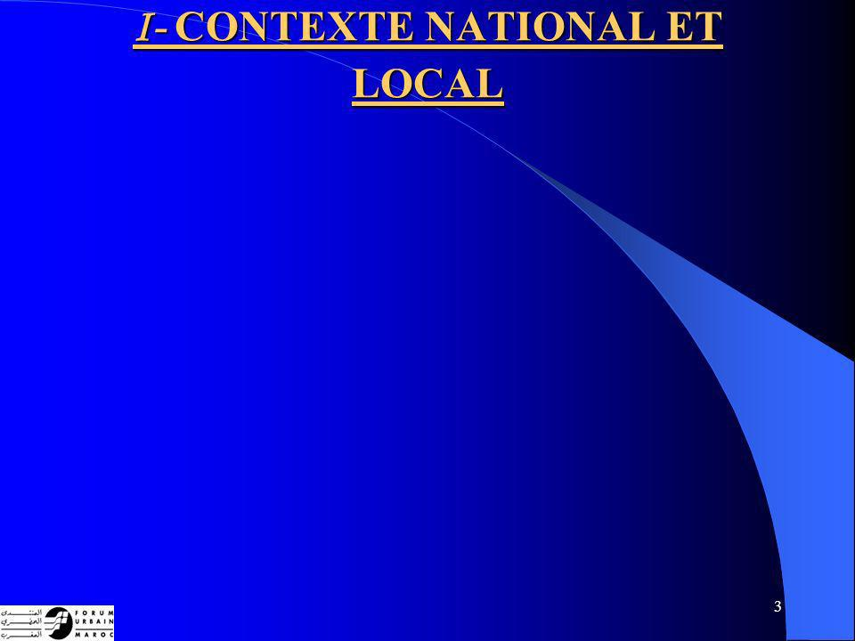 I- CONTEXTE NATIONAL ET LOCAL