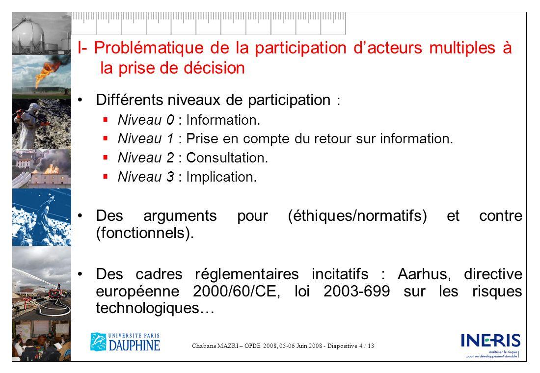 I- Problématique de la participation d'acteurs multiples à la prise de décision