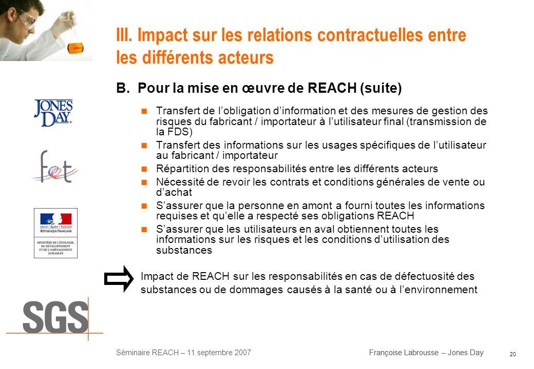 III. Impact sur les relations contractuelles entre les différents acteurs