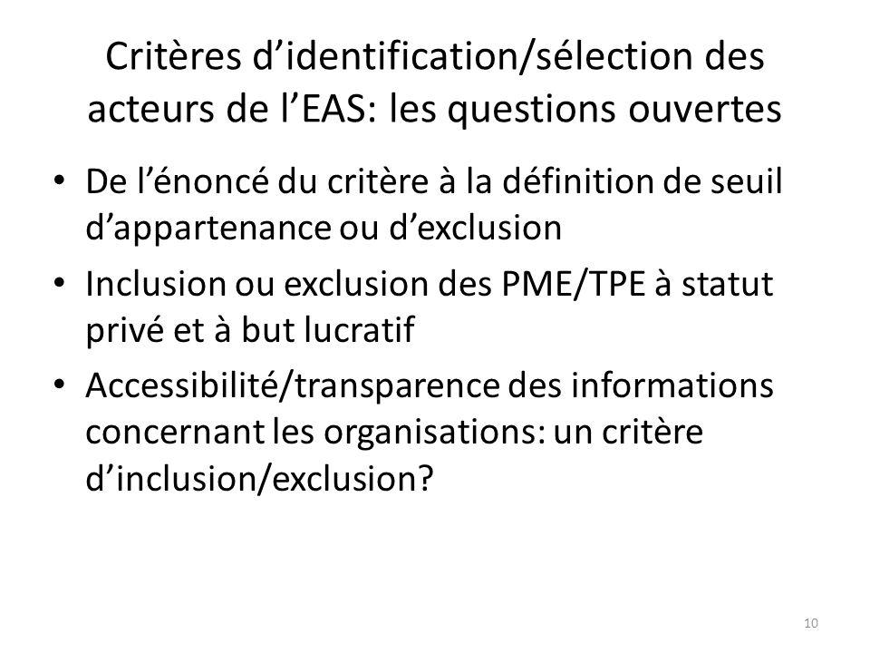 Critères d'identification/sélection des acteurs de l'EAS: les questions ouvertes