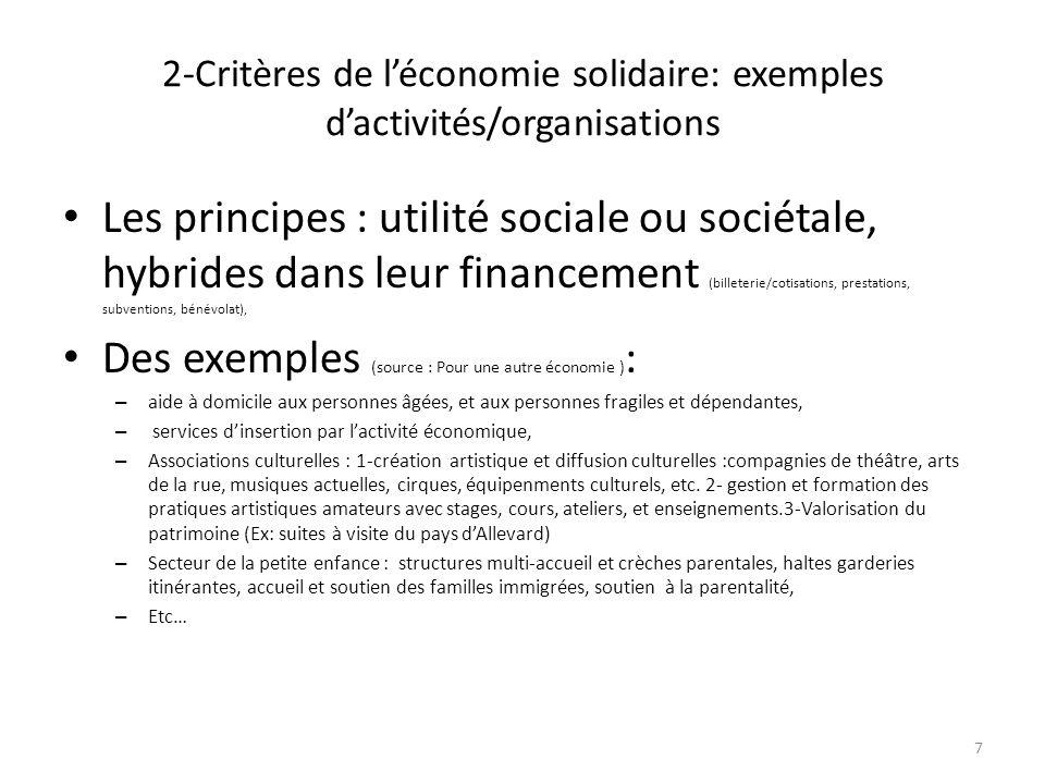 2-Critères de l'économie solidaire: exemples d'activités/organisations