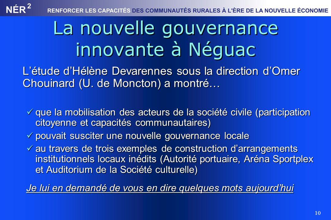 La nouvelle gouvernance innovante à Néguac
