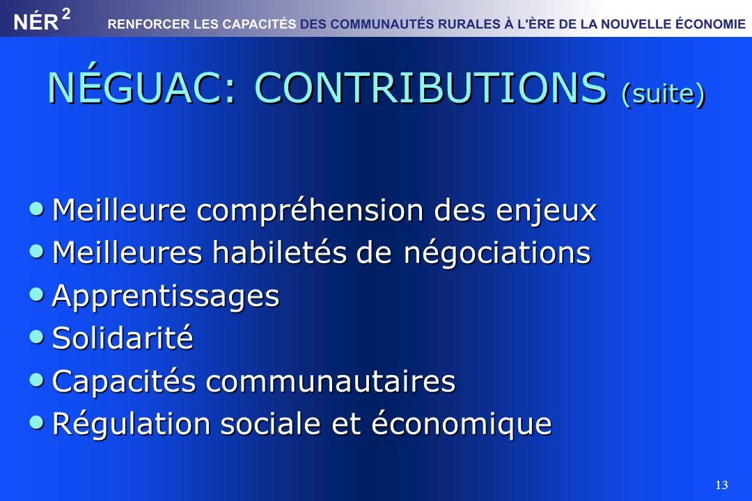 NÉGUAC: CONTRIBUTIONS (suite)