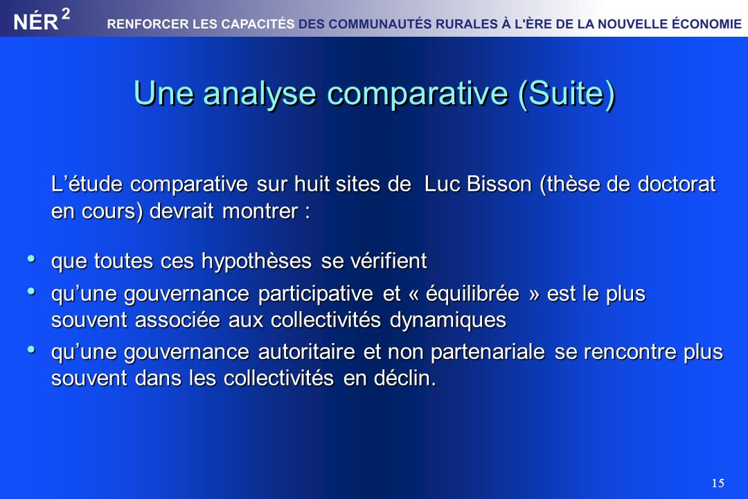 Une analyse comparative (Suite)