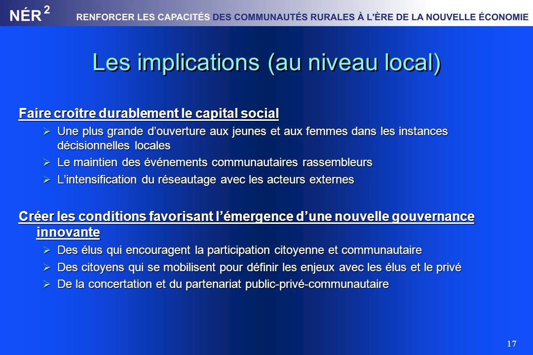 Les implications (au niveau local)