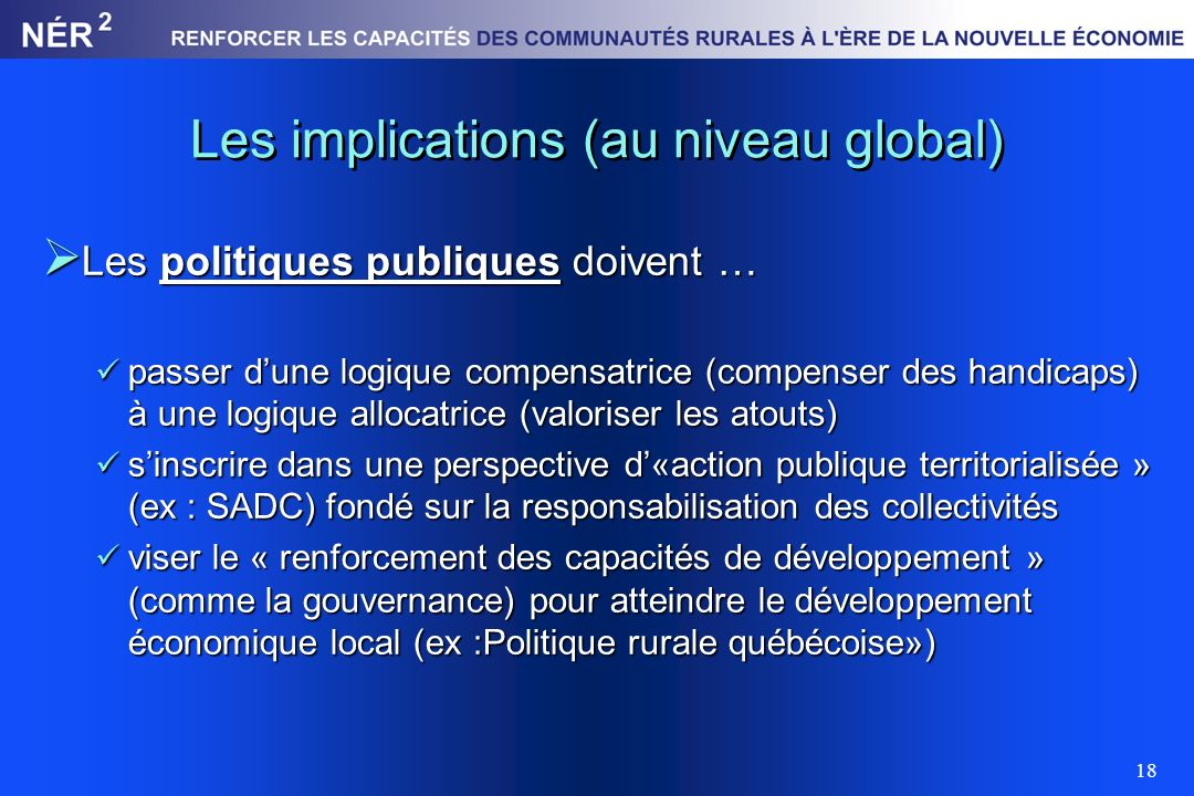 Les implications (au niveau global)