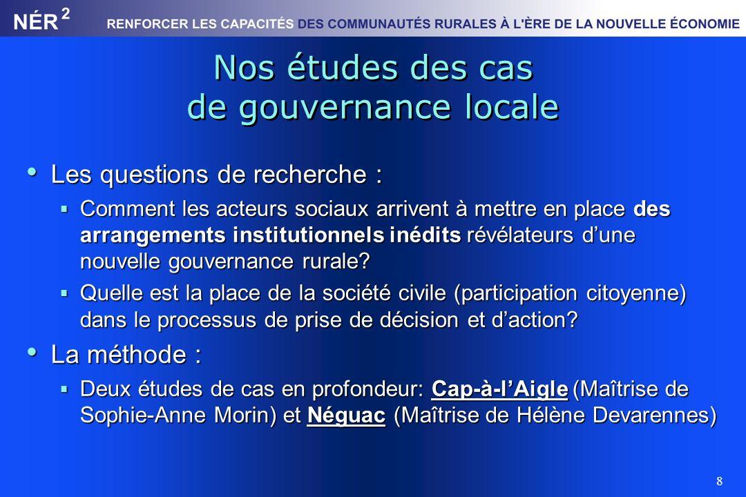 Nos études des cas de gouvernance locale