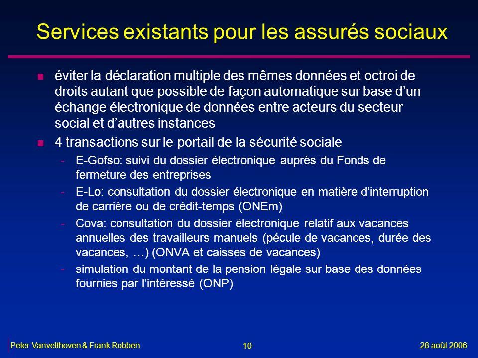 Services existants pour les assurés sociaux