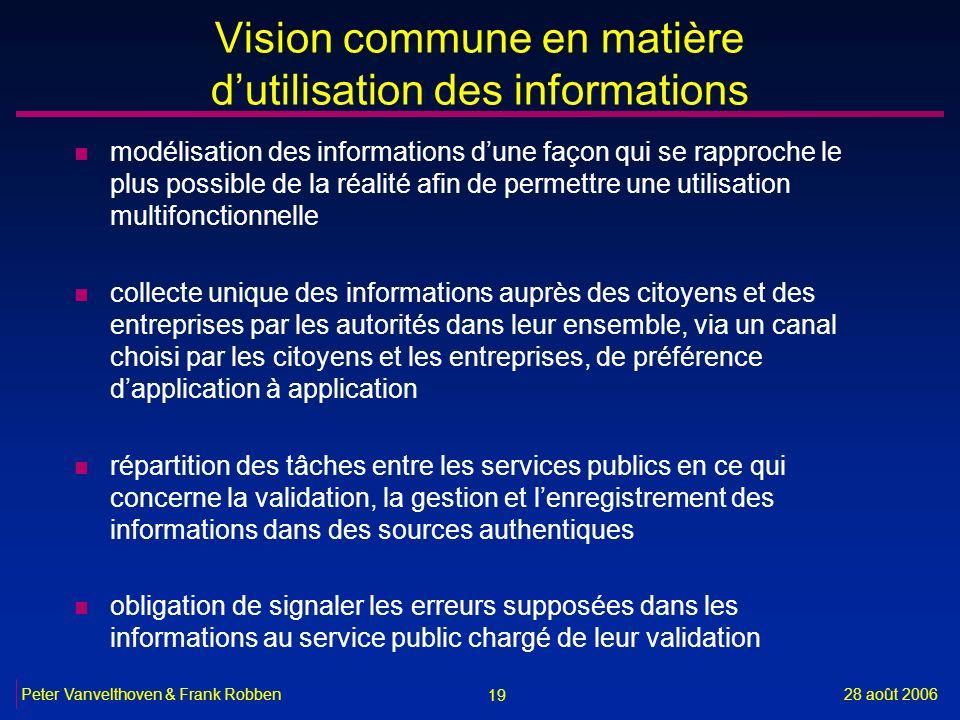 Vision commune en matière d'utilisation des informations