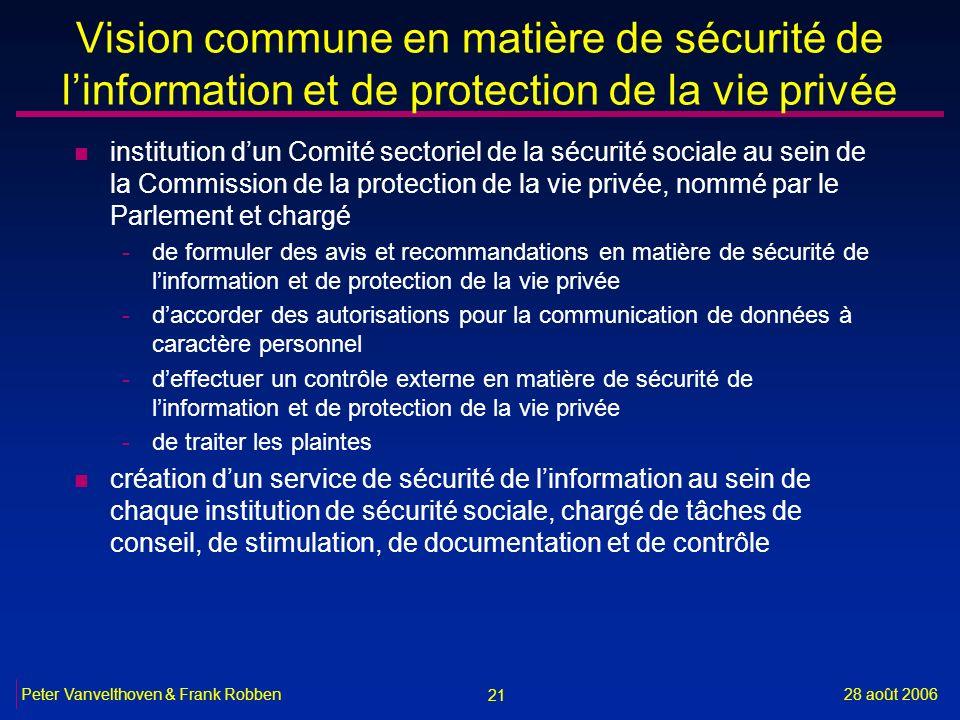 Vision commune en matière de sécurité de l'information et de protection de la vie privée