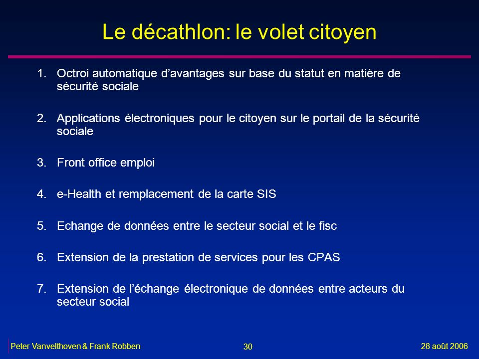 Le décathlon: le volet citoyen