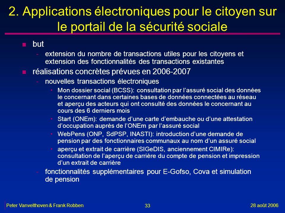 2. Applications électroniques pour le citoyen sur le portail de la sécurité sociale