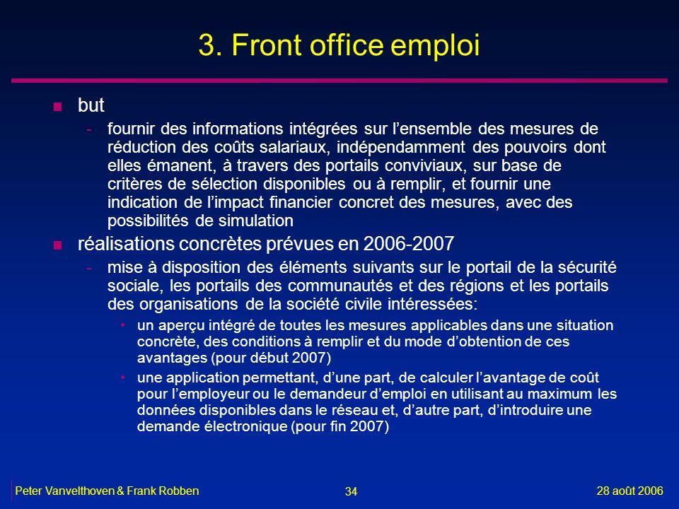 3. Front office emploi but réalisations concrètes prévues en 2006-2007