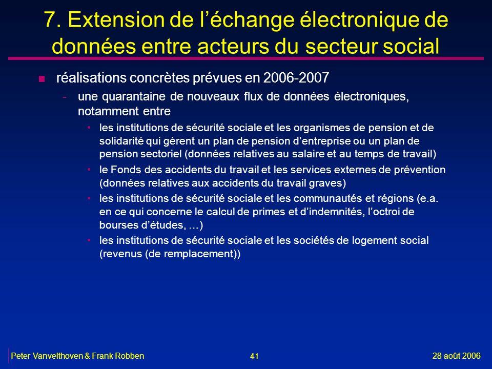 7. Extension de l'échange électronique de données entre acteurs du secteur social