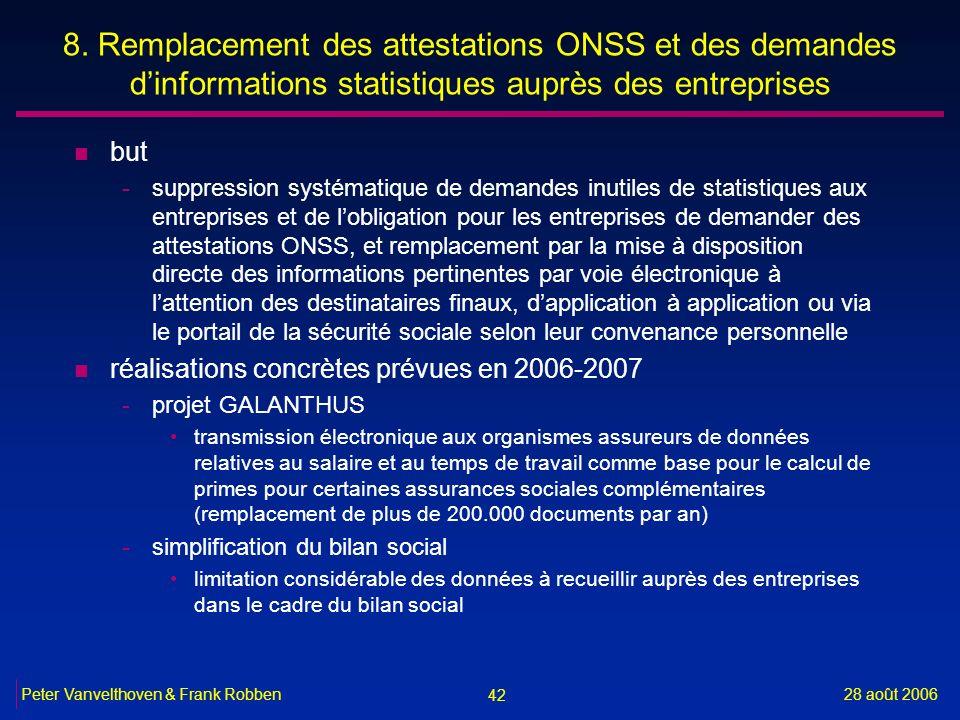 8. Remplacement des attestations ONSS et des demandes d'informations statistiques auprès des entreprises