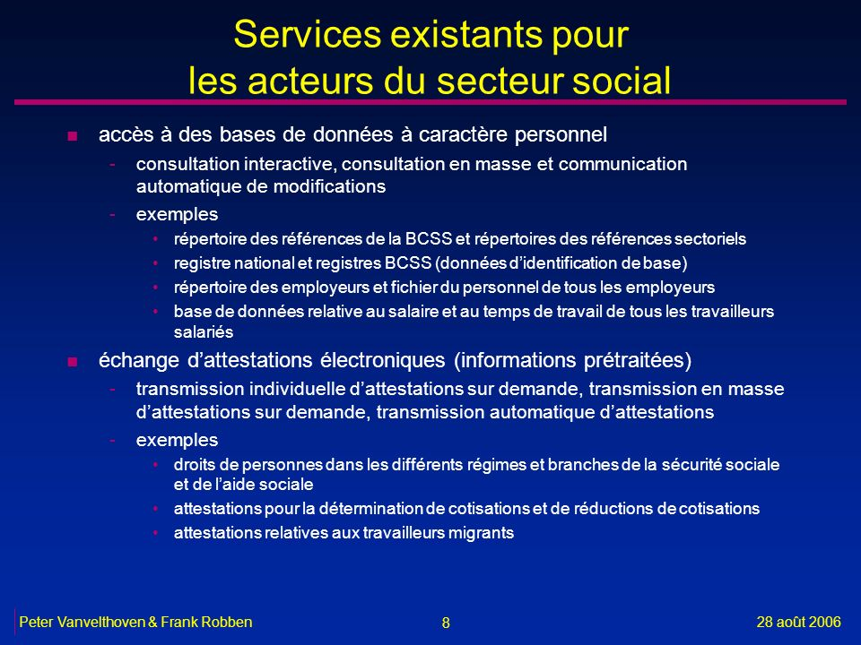 Services existants pour les acteurs du secteur social