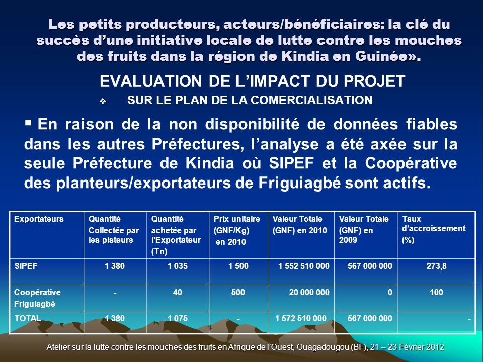 EVALUATION DE L'IMPACT DU PROJET SUR LE PLAN DE LA COMERCIALISATION