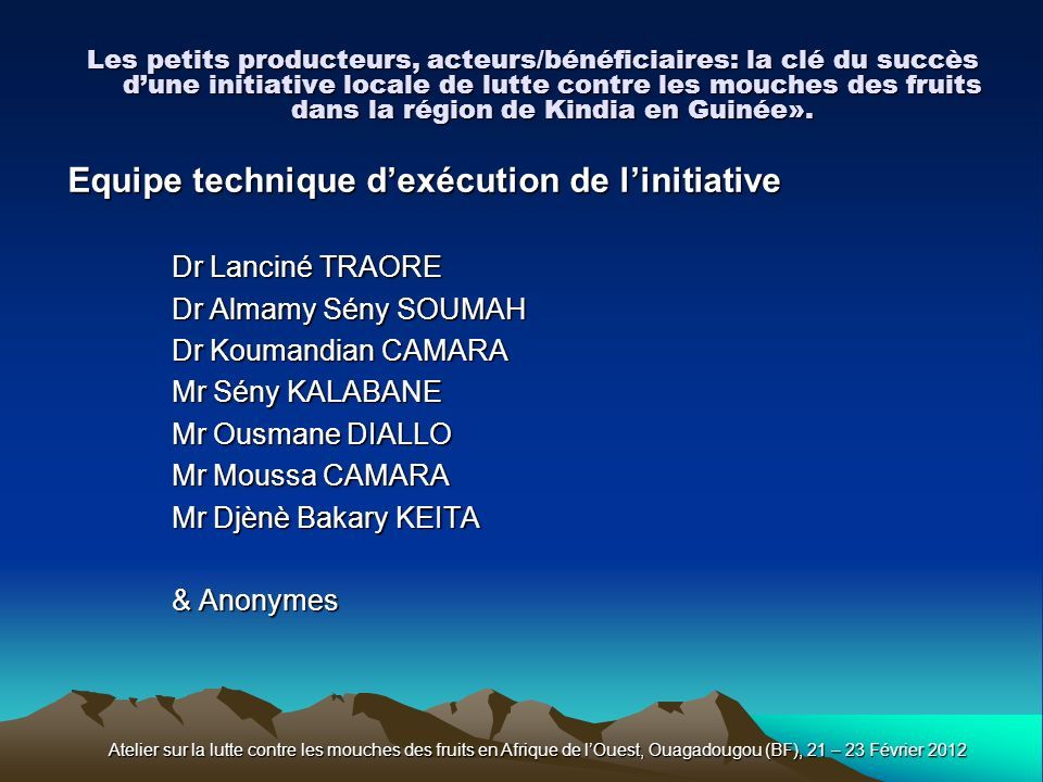 Equipe technique d'exécution de l'initiative
