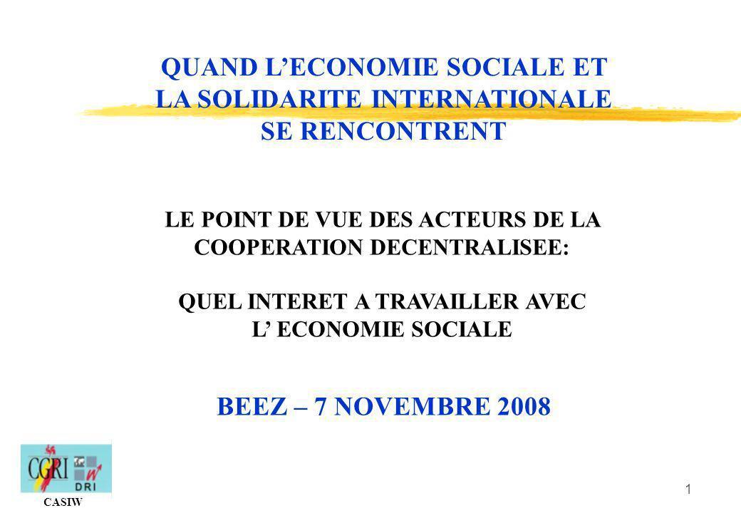 QUAND L'ECONOMIE SOCIALE ET LA SOLIDARITE INTERNATIONALE