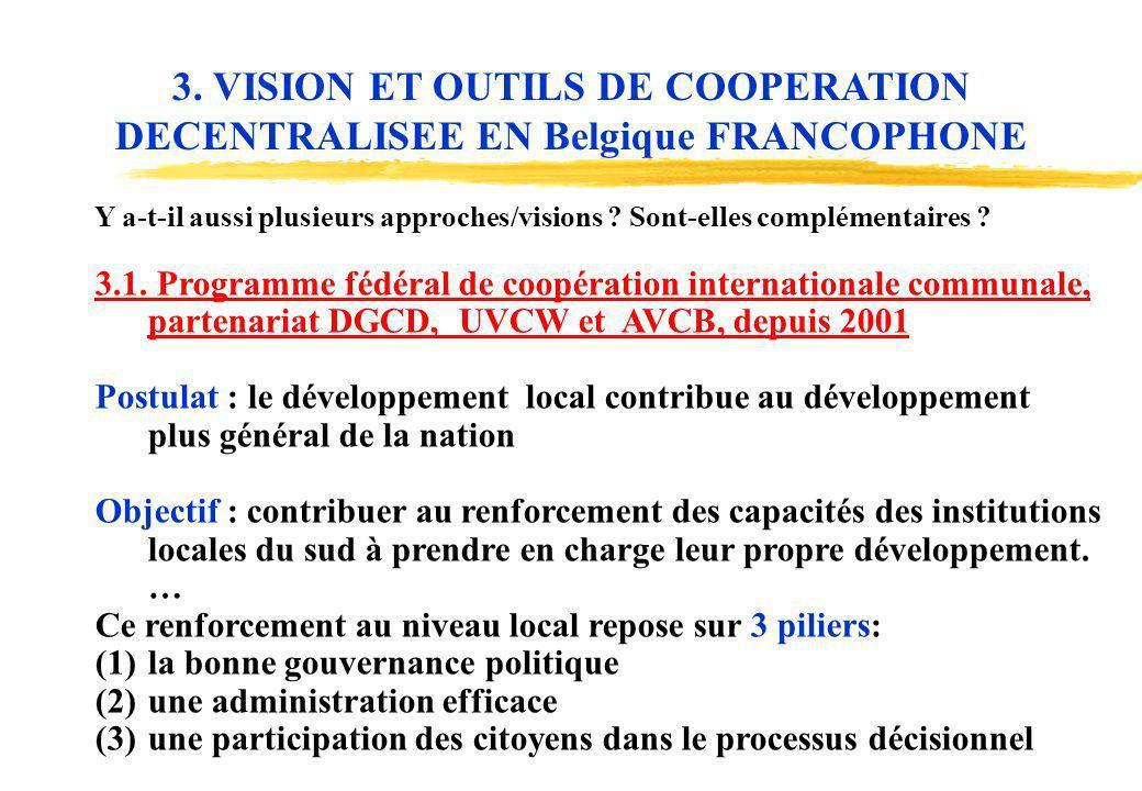 3. VISION ET OUTILS DE COOPERATION DECENTRALISEE EN Belgique FRANCOPHONE
