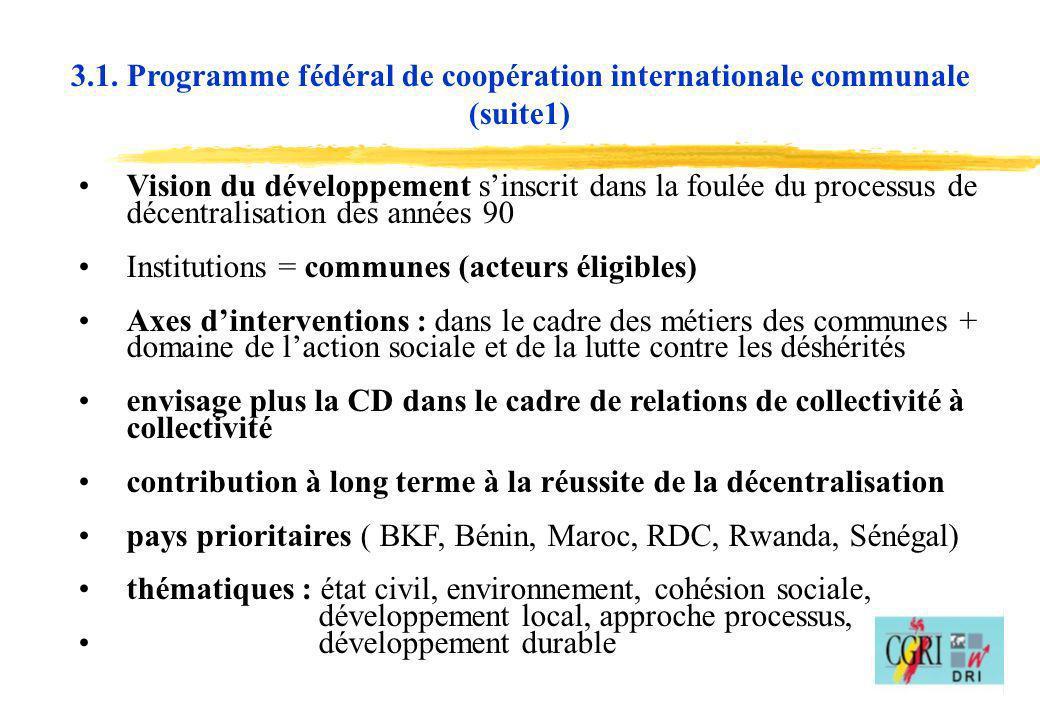 3.1. Programme fédéral de coopération internationale communale (suite1)