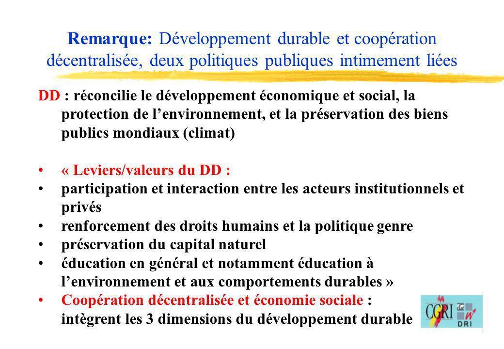 Remarque: Développement durable et coopération décentralisée, deux politiques publiques intimement liées