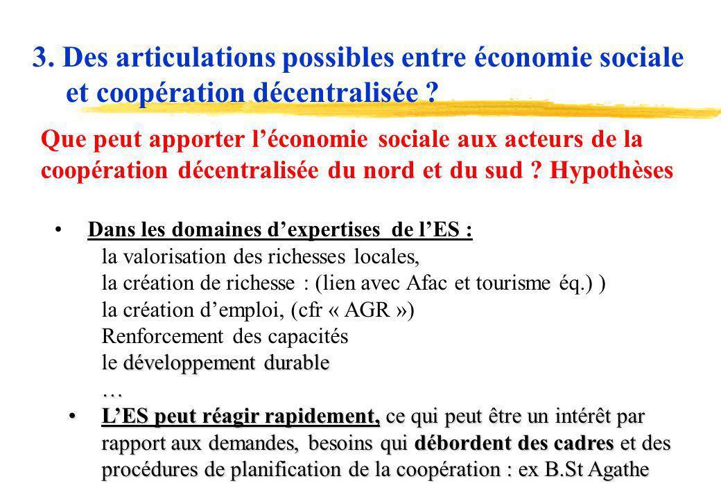 3. Des articulations possibles entre économie sociale et coopération décentralisée