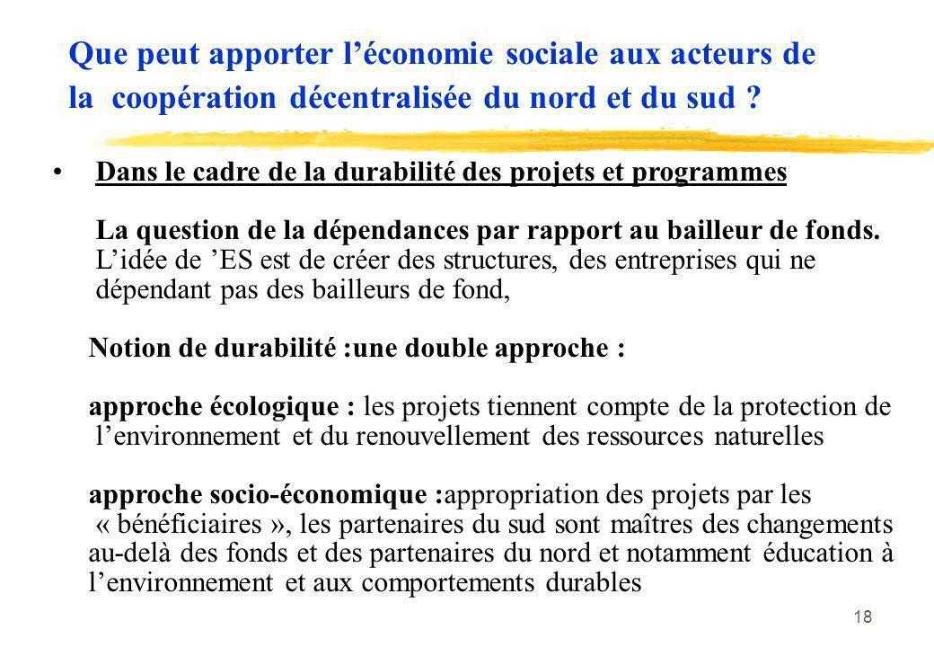 Que peut apporter l'économie sociale aux acteurs de la coopération décentralisée du nord et du sud