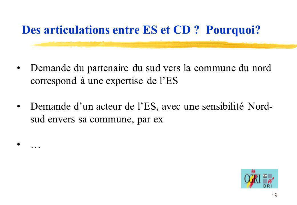 Des articulations entre ES et CD Pourquoi