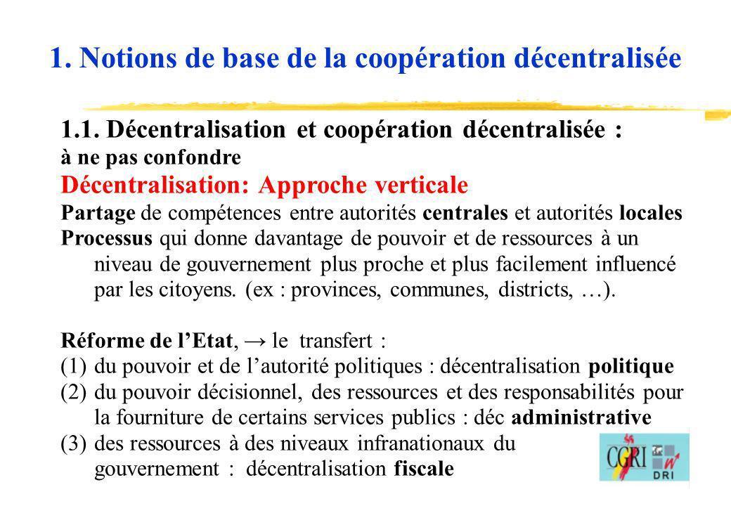 1. Notions de base de la coopération décentralisée