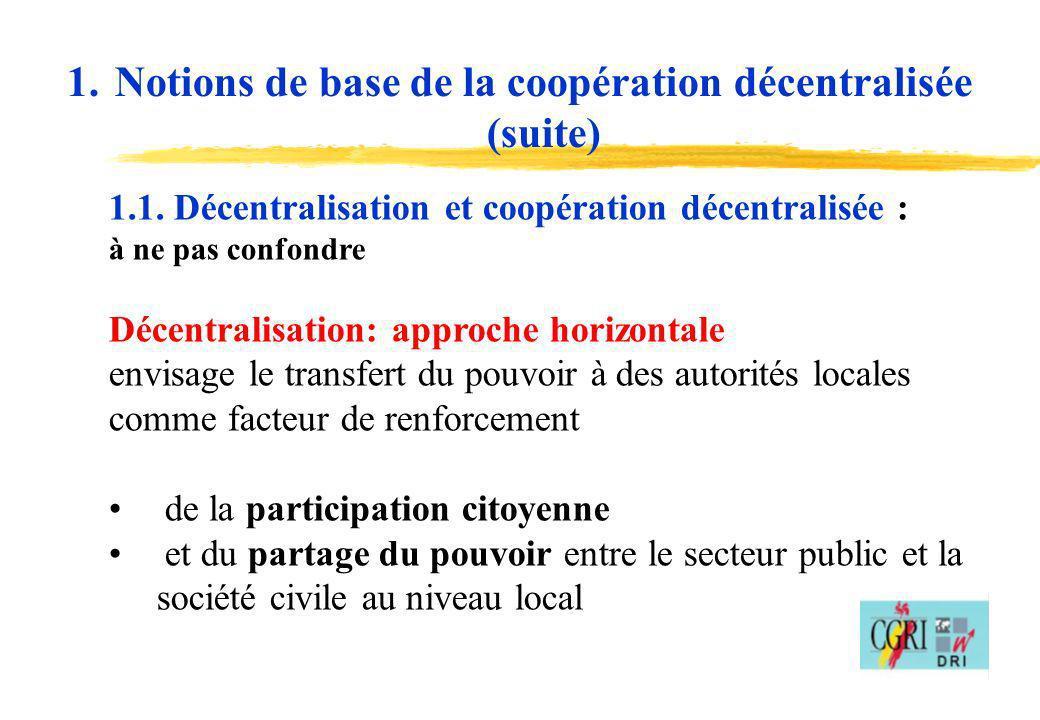 Notions de base de la coopération décentralisée (suite)