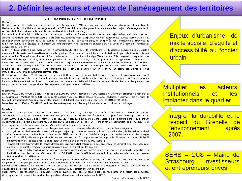 2. Définir les acteurs et enjeux de l'aménagement des territoires
