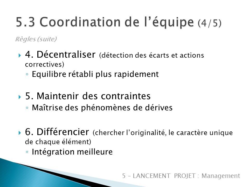 5.3 Coordination de l'équipe (4/5)