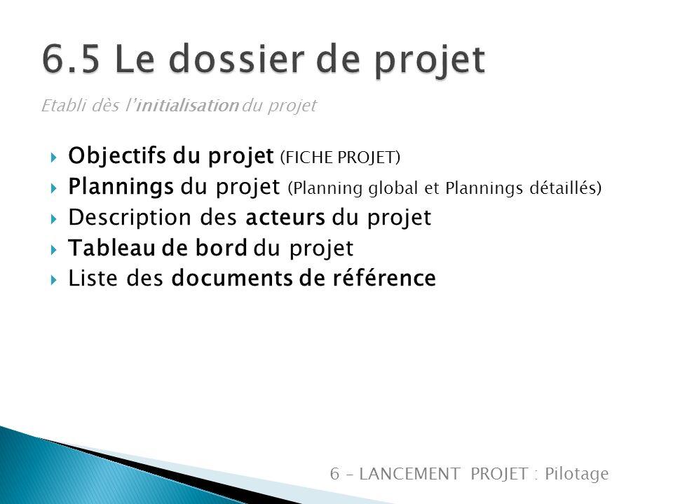 6.5 Le dossier de projet Objectifs du projet (FICHE PROJET)