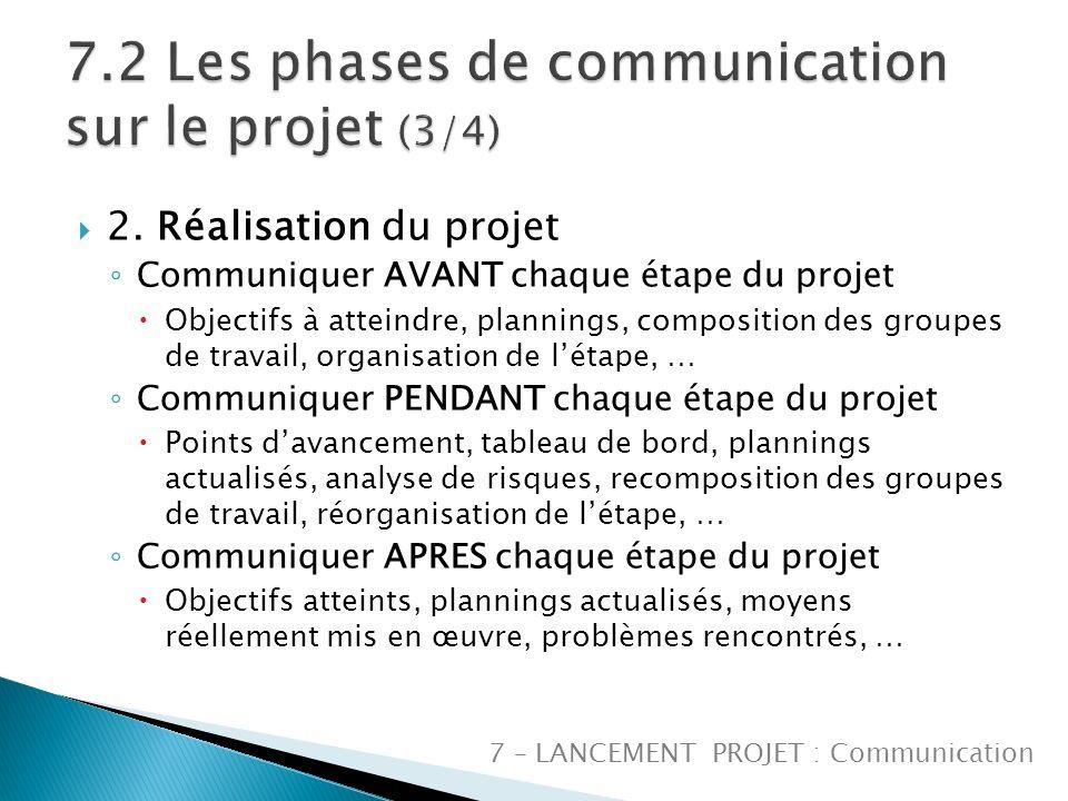 7.2 Les phases de communication sur le projet (3/4)