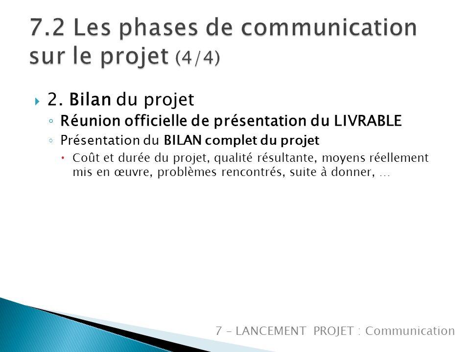 7.2 Les phases de communication sur le projet (4/4)