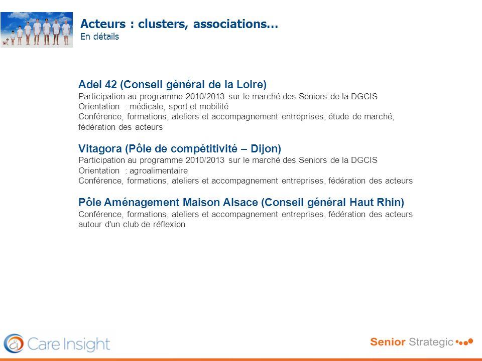 Acteurs : clusters, associations...