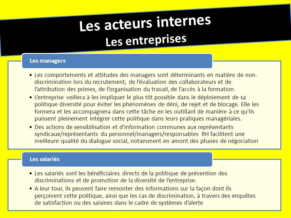 Les acteurs internes Les entreprises