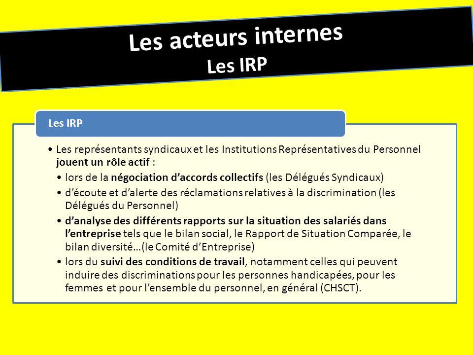 Les acteurs internes Les IRP