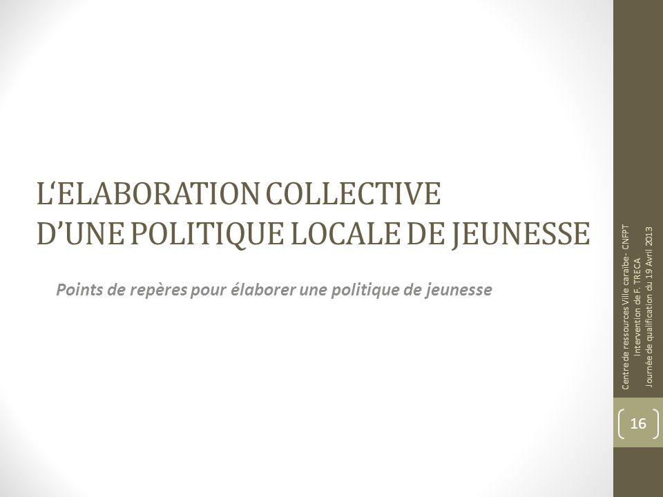 L'ELABORATION COLLECTIVE D'UNE POLITIQUE LOCALE DE JEUNESSE