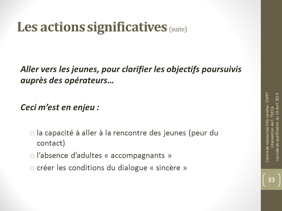 Les actions significatives (suite)