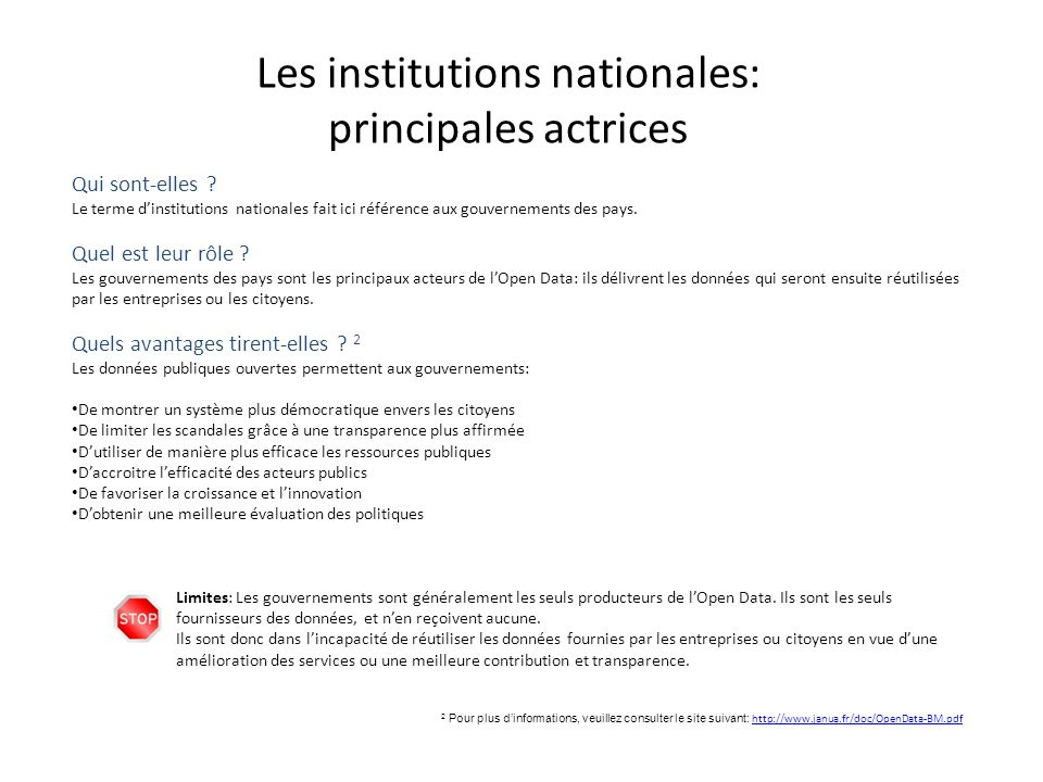 Les institutions nationales: principales actrices