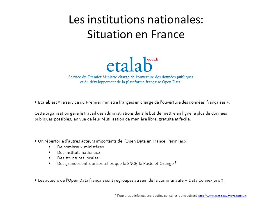 Les institutions nationales: