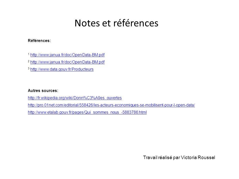 Notes et références Travail réalisé par Victoria Roussel Références: