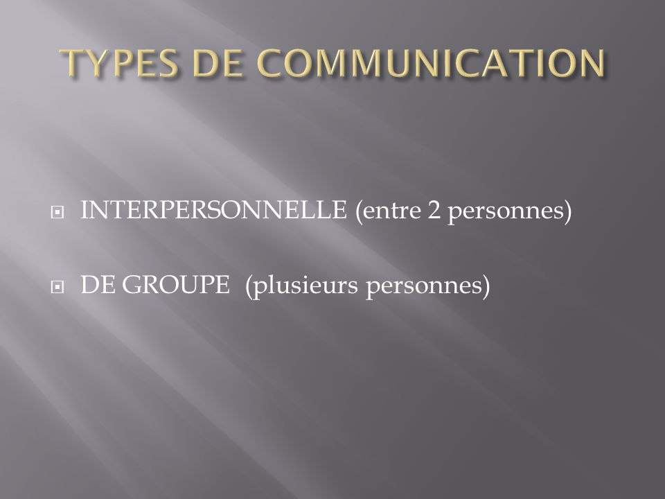 TYPES DE COMMUNICATION