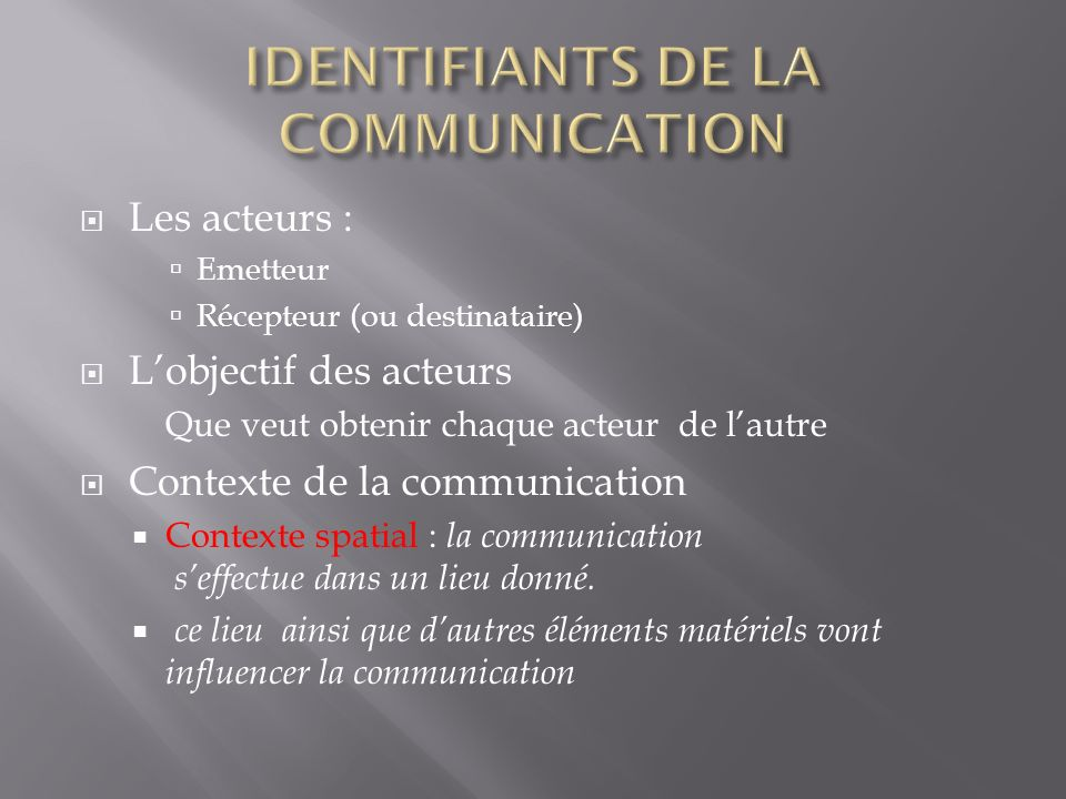 IDENTIFIANTS DE LA COMMUNICATION