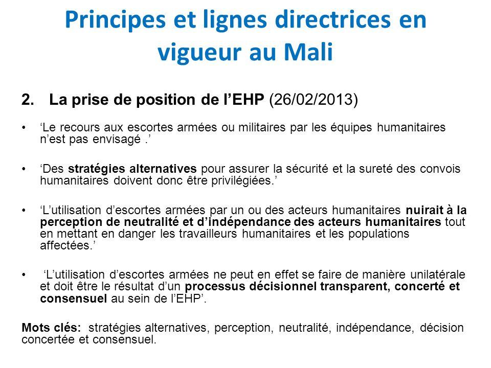 Principes et lignes directrices en vigueur au Mali