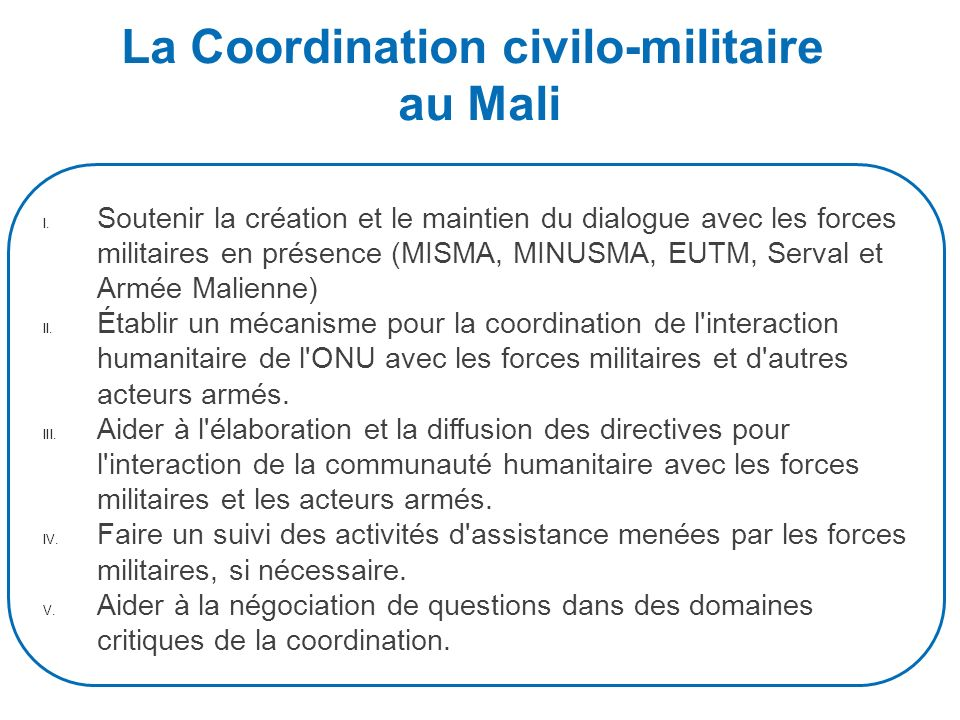 La Coordination civilo-militaire