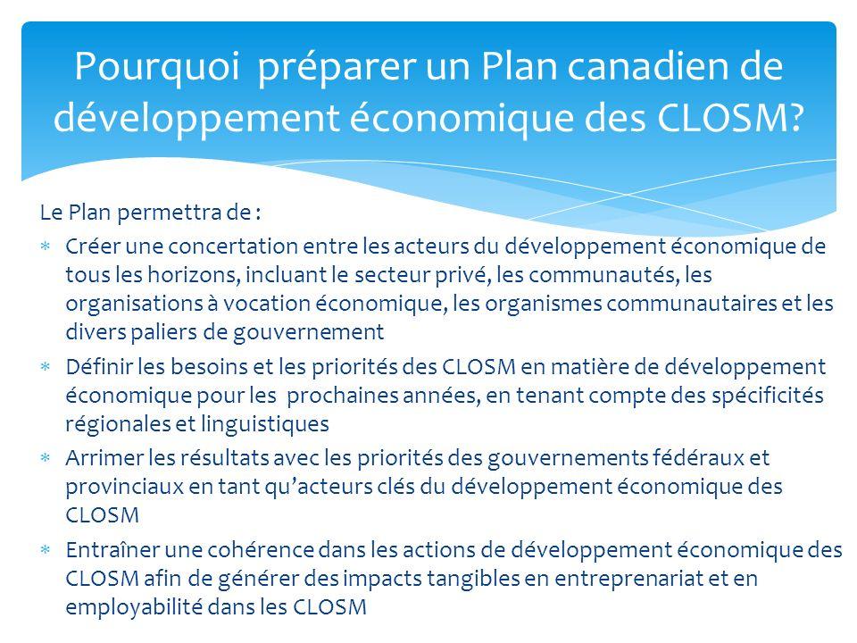 Pourquoi préparer un Plan canadien de développement économique des CLOSM